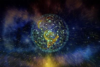 Imagen de un planeta conectado con tecnología. Foto de Gerd Altmann en Pixabay