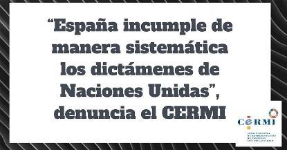 """""""España incumple de manera sistemática los dictámenes de Naciones Unidas"""", denuncia el CERMI"""