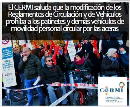 El CERMI saluda que la modificación de los Reglamentos de Circulación y de Vehículos prohíba a los patinetes y demás vehículos de movilidad personal circular por las aceras