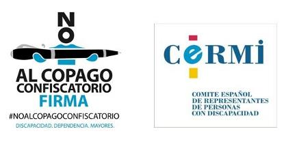 logo del CERMI junto a una imagen sobre el copago confiscatorio