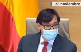 El ministro de Sanidad, Salvador Illa, en una comparecencia de este jueves 26 de noviembre