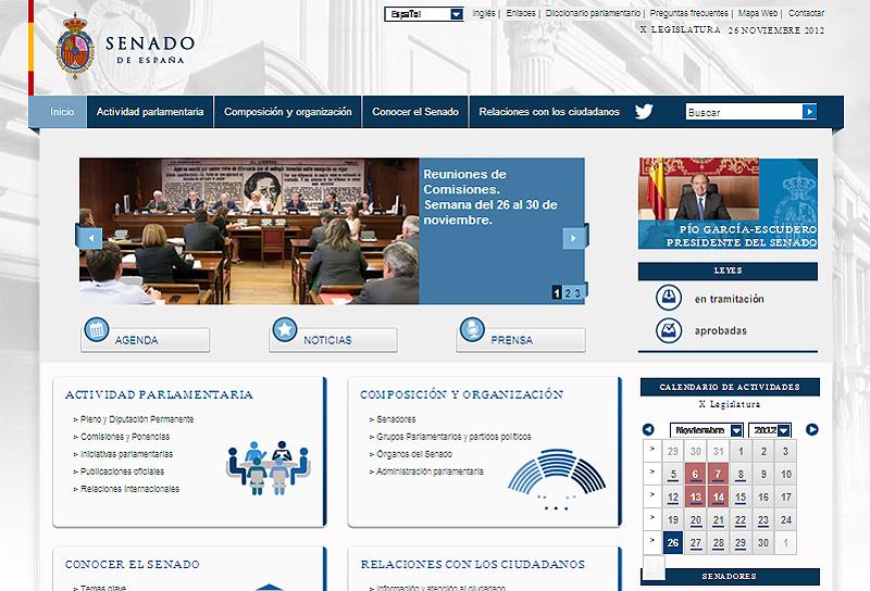Imagen de la página web del Senado