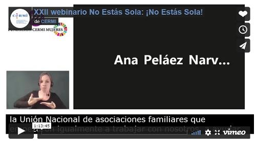 Imagen que da paso a la Grabación audiovisual accesible de XXII webinario No Estás Sola: ¡No Estás Sola!