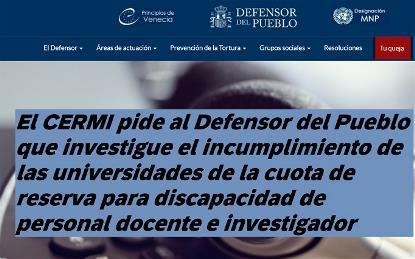 El CERMI pide al Defensor del Pueblo que investigue el incumplimiento de las universidades de la cuota de reserva para discapacidad de personal docente e investigador