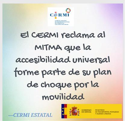 El CERMI reclama al Mitma que la accesibilidad universal forme parte de su plan de choque por la movilidad