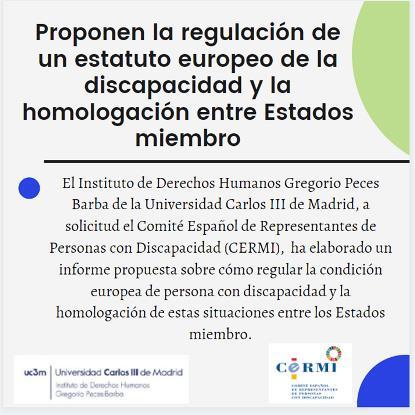 Proponen la regulación de un estatuto europeo de la discapacidad y la homologación entre Estados miembro