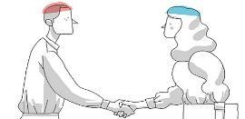 Ilustración de Fedace sobre el empleo en daño cerebral, con dos personas que se dan la mano, la zona del cerebro es de distinto color