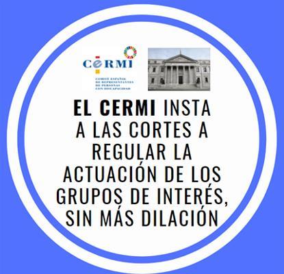 El CERMI insta a las Cortes a regular la actuación de los grupos de interés, sin más dilación