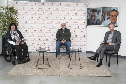 Los dirigentes de Predif, CERMI y Fundación ONCE durante el encuentro. Foto: Jorge Villa.
