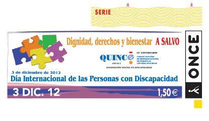 Cupón de la ONCE del 3 de diciembre, dedicado al Día Internacional de las Personas con Discapacidad