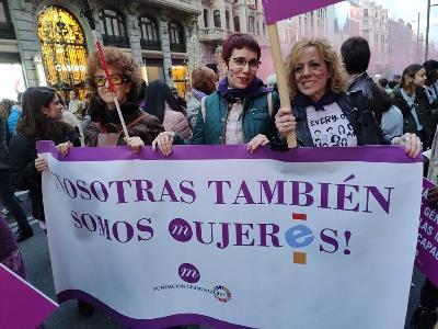 Ángeles Blanco, responsable de Derechos y Asesoría Jurídica en Confederación Aspace, en la manifestación del día de la mujer