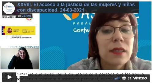 Grabación audiovisual accesible del XXVIII webinario 'No estás sola'. El acceso a la justicia de las mujeres y niñas con discapacidad