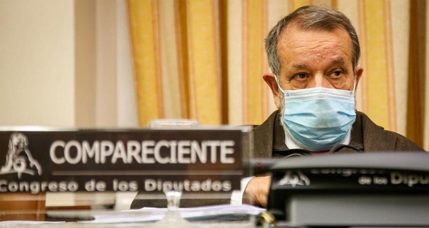 El Defensor del Pueblo en funciones y adjunto primero, Francisco Fernández Marugán, durante una comparecencia en el Congreso