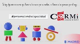 Imagen de #personacondiscapacidad, campaña de CERMI Madrid dirigida a que se respete el uso adecuado de la terminología