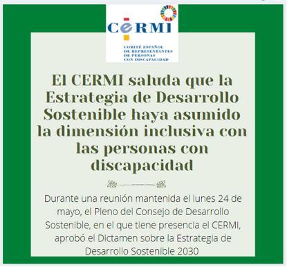 El CERMI saluda que la Estrategia de Desarrollo Sostenible haya asumido la dimensión inclusiva con las personas con discapacidad