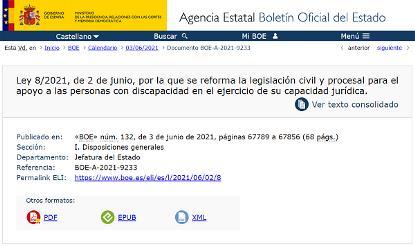 Detalle de la web del BOE con la publicación de la ley que acaba con las incapacitaciones judiciales por discapacidad