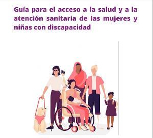 """Detalle de la portada de """"Guía para el acceso a la salud y a la atención sanitaria de las mujeres y niñas con discapacidad"""""""