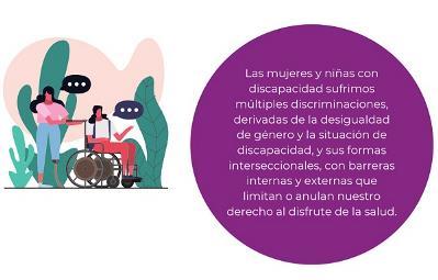 """Detalle de una de las imágenes con texto que aparece en la """"Guía para el acceso a la salud y a la atención sanitaria de las mujeres y niñas con discapacidad"""""""
