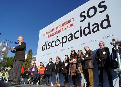 Luis Cayo Pérez bueno, durante su discurso en el acto de clausura de la marcha