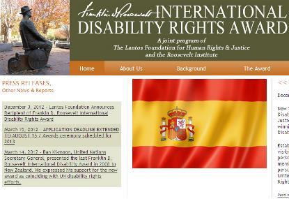 Imagen de la web del Premio Internacional Roosevelt de Derechos de las Personas con Discapacidad