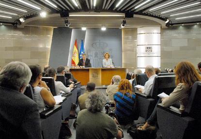 Imagen de la rueda de prensa tras el Consejo de Ministros