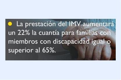 La prestación del IMV aumentará un 22% la cuantía para familias con miembros con discapacidad igual o superior al 65%