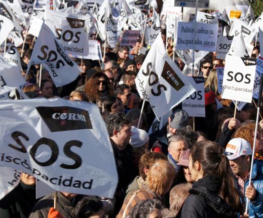 Un momento de la marcha SOS Discapacidad