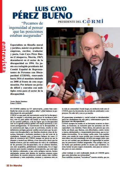 Imagen de la entrevista de Luis Cayo Pérez Bueno, presidente del CERMI, en la revista 'En Marcha'