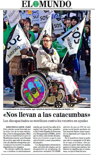 """Noticia de SOS Discapacidad del periódico """"El Mundo"""""""