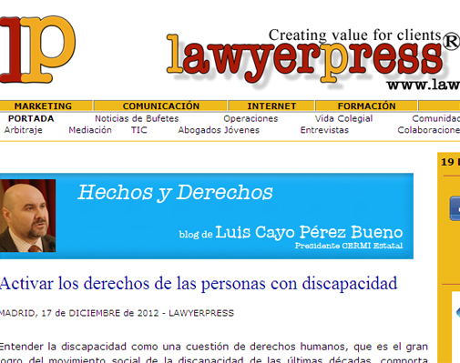 Imagen del blog del CERMI en el portal jurídico Lawyer Press (www.lawyerpress.com)