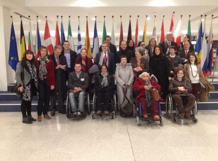 Una parte de la delegación del CERMI en el Parlamento Europeo de la Discapacidad
