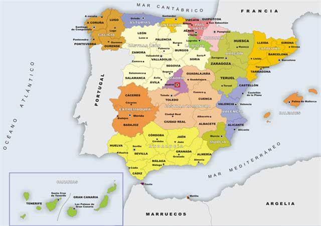Mapa de las comunidades autónomas