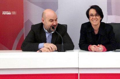 Luis Cayo Pérez Bueno (izqda.) y Purificación Causapié, en la sesión de trabajo 'Las mujeres con discapacidad: por una agenda política a favor de la inclusión'
