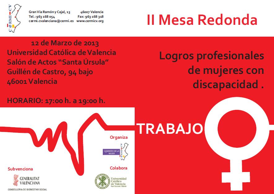 """Imagen del díptico de la II Mesa Redonda """"Logros profesionales de mujeres con discapacidad"""""""