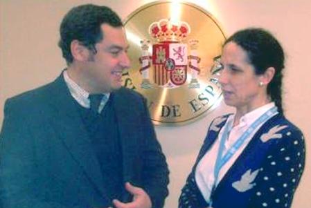 El Secretario de Estado de Servicios Sociales e Igualdad, Juan Manuel Moreno con la Comisionada de Género del CERMI, Ana Peláez