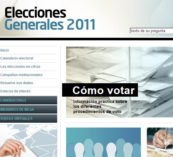 una imagen de la web de las elecciones generales 2011