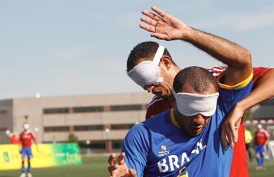 """Fútbol paralímpico. La """"Roja"""" y Brasil se preparan para los Juegos de Londres en el 'mundialito' celebrado en la Universidad Europea (Villaviciosa de Odón, Madrid, junio de 2012)."""