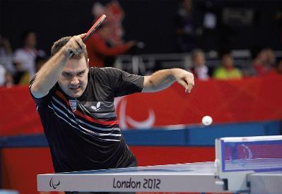 Jordi Morales, en tensión, en acción, en plena lucha en los Juegos Paralímpicos de Londres 2012