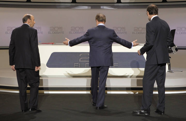 Imagen de TVE del debate entre Rajoy y Rubalcaba