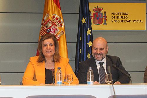 Fátima Báñez y Luis Cayo Pérez Bueno, tras la reunión del Comité Ejecutivo del CERMI