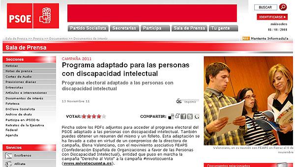 El PSOE adaptó a lectura fácil su programa de las elecciones generales de 2011