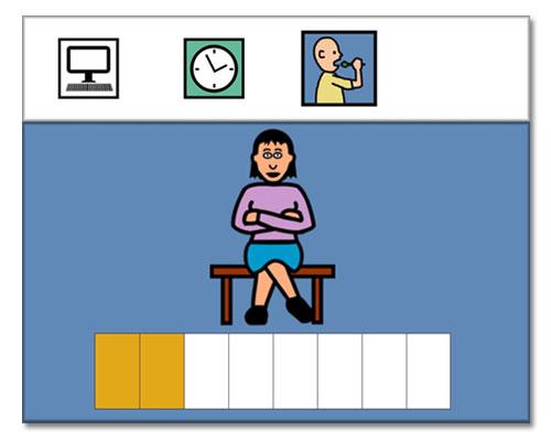 Dibujo que refleja una barra de color, abajo, con la que se muestra el tiempo de espera para el siguiente autobús