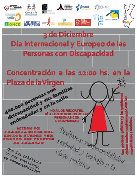 Cartel de la concentración del CERMI comunidad valenciana el día 3 de diciembre