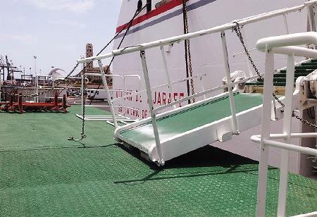 Acceso imposible a un ferry para una persona usuaria de silla de ruedas