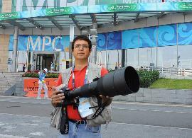 El fotógrafo Javier Regueros, en los Juegos Paralímpicos de Pekín 2008