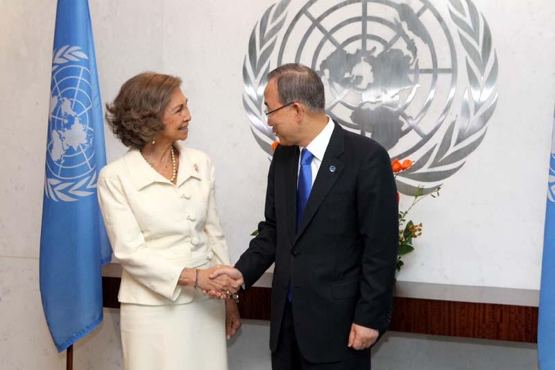 La Reina Sofía y el secretario general de las Naciones Unidas, Ban Ki Moon