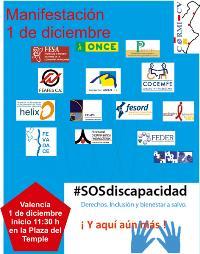 Cartel de la manifestación SOS Discapacidad del 1 de diciembre en la Comunidad Valenciana