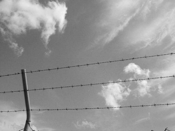 Detalle de una alambrada de una prisión contra el cielo