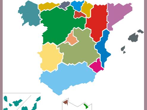 Mapa de España de la web del INE, Instituto Nacional de Estadística