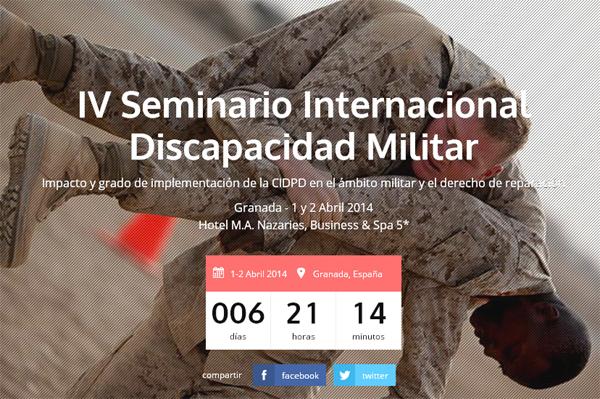 Imagen de la web del IV Seminario Internacional Discapacidad Militar
